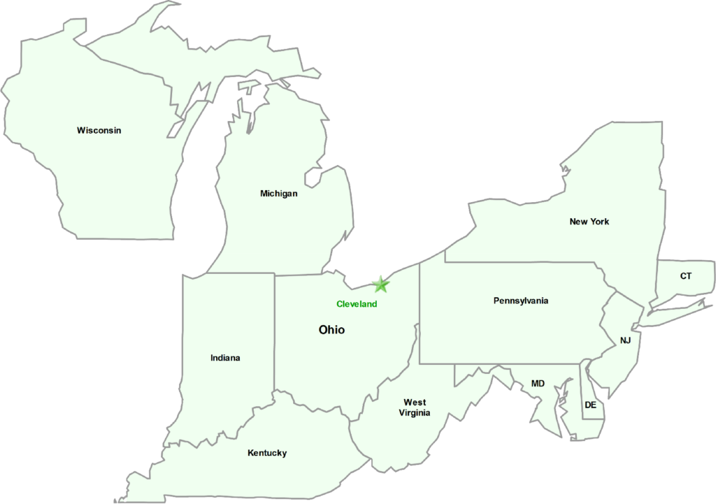 Kraft Fluid Systems Territory Map - Wisconsin, Michigan, Indiana, Kentucky, West Virginia, Maryland, Deleware, New Jersey, Pennsylvania, New York, Connecticut, and headquarters in Ohio.