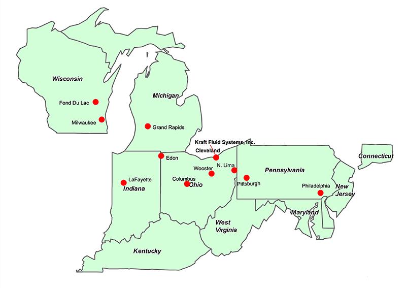 Kraft Fluid Systems regional sales office locations - map