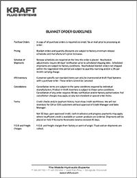 Kraft Fluid Systems - blanket order policy